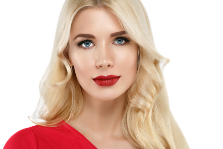 Woman with lips mouth red pink lip and blonde hair portrait. Isolated on white. Stock Photo