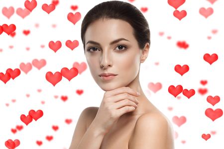 Valentines Day Woman Beautiful Heart Portrait. Studio shot.