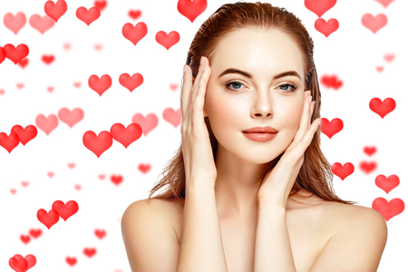 Saint Valentines Day Hearts Beautiful Woman Face Portrait Beauty Skin Care Concept Beautiful beauty young model girl face skin Fashion Beauty Model Stock Photo