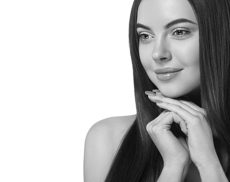 Beautiful woman portrait long hair with perfect makeup isolated on white black and white