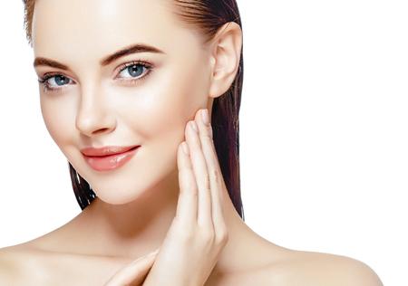 美人顔の肖像画美肌ケア概念。白で隔離ファッション ビューティー モデル 写真素材 - 79167851