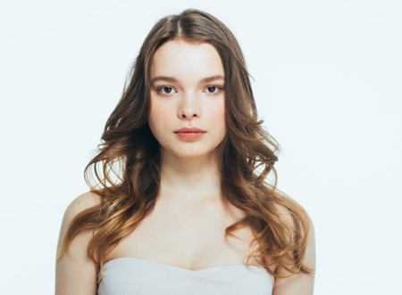 Portrait of beautiful woman beauty female model on white background. Stidio shot. isolated on white. Reklamní fotografie
