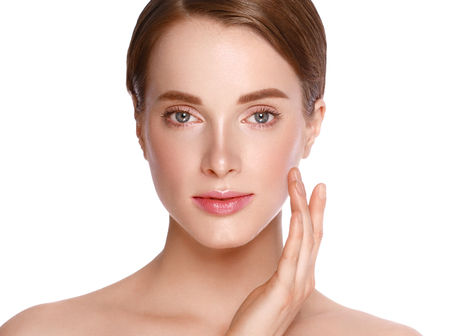 Beauty Woman face  with hand Portrait. Beautiful model Girl with Perfect Fresh Clean Skin color lips purple red. Blonde brunette short hair Youth and Skin Care Concept. Isolated on a white background 版權商用圖片