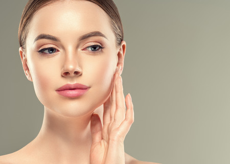 Augenmaske Patch kosmetische weibliche Frau Gesicht gesunde Haut. Studioaufnahme.