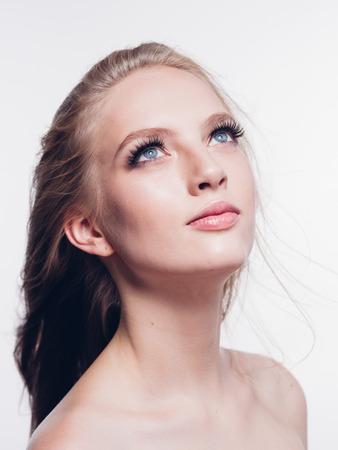 Eyelashes woman eyes face close up with beautiful long lashes isolated on white. Studio shot. Stock Photo