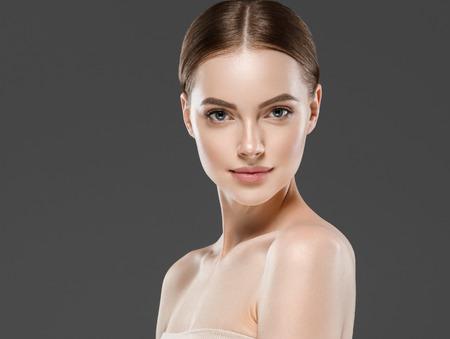 Naturzl makeup woman portrait beauty healthy skin care concept. Studio shot.