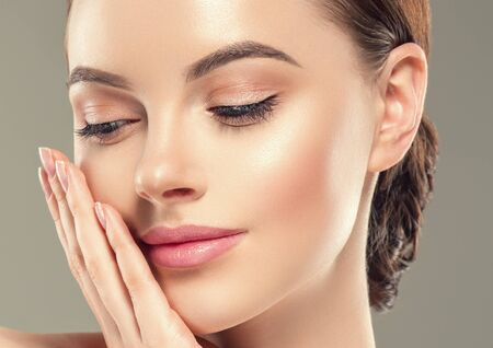 Eye mask patch cosmetic female woman face healthy skin. Studio shot.