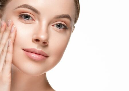 Beautiful woman female skin care healthy hair and skin close up face beauty portrait. Studio shot.