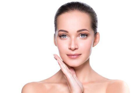Woman beauty face healthy skin natural makeup beautiful young model. Studio shot. Foto de archivo