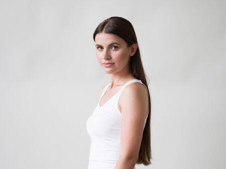 Woman casual portrait brunette female long hair natural make up