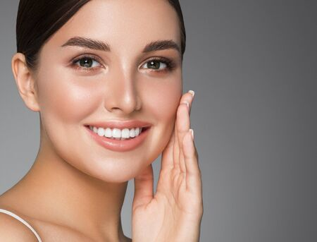 Beauty woman healthy teeth smile healthy beautiful skin model face skin care happy female Фото со стока - 144045198