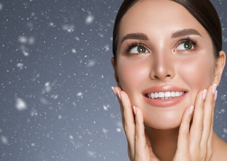 Winter Beauty woman healthy teeth smile healthy beautiful skin model face skin care happy female