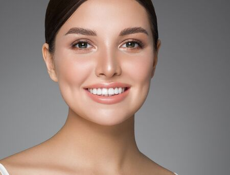 Beauty woman healthy teeth smile healthy beautiful skin model face skin care happy female Фото со стока - 144045242