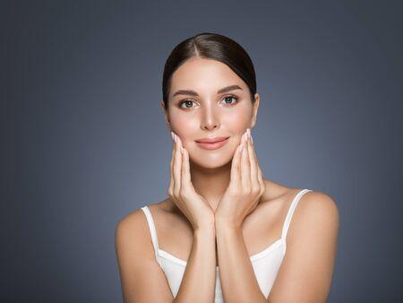 Beauty woman healthy teeth smile healthy beautiful skin model face skin care happy female Фото со стока