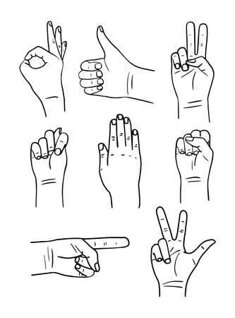 Set of hands poses in sketch