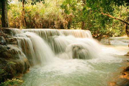 laotian: Waterfall in the Jungle Stock Photo