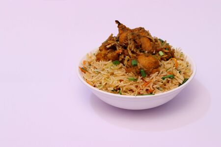Chinese Fried Rice Topped With Vegetable Gravy On White Background