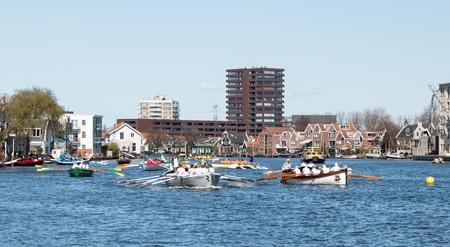zaan: Boats rowing on Zaan river