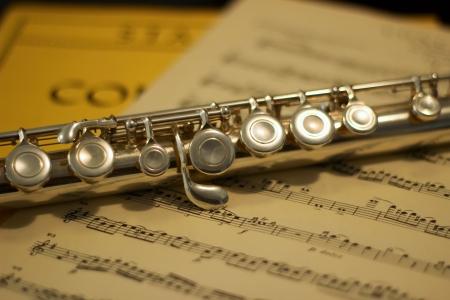 silver flute: silver flute on music score