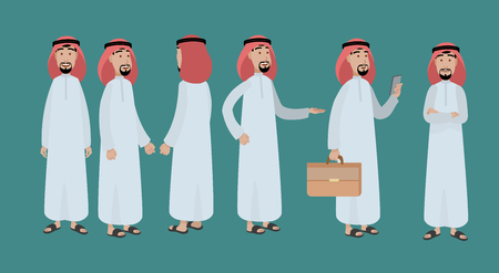 Arabian man character design standing in 6 positions