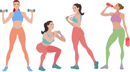 beautiful sexy young girls working out vector illustration Illustration