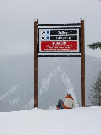 run down: Snowboarder getting ready for run down