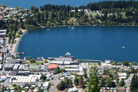 birdeye: Bird-eye view to Queenstown, New Zealand Stock Photo