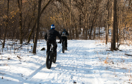 winter tires: Two men on fat-bikes ride in winter forest