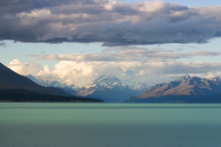 tekapo: Black cloud over lake Tekapo, South Island, New Zealand