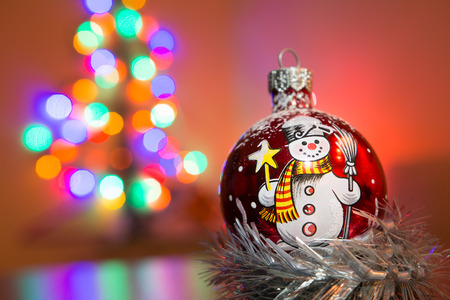 concave: X-mas tree glass decoration with blurry background Stock Photo