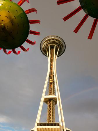 space needle: Space Needle Tower at rainy day, Seattle, WA, USA