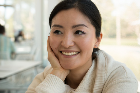korean woman: Smiling young korean woman  indoor Stock Photo