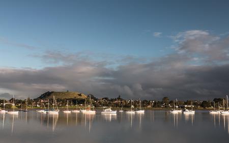 wellington: Gray clouds over mount Wellington Auckland New Zealand