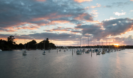 sunup: Sun comes up over a marina Auckland New Zealand