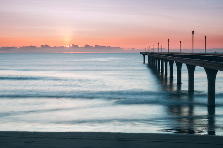 new horizons: New Brighton Pier at sunrise Christchurch New Zealand