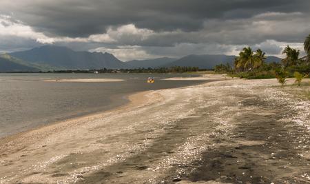 levy: People on catamaran on stormy weather, Vita Levy, Fiji