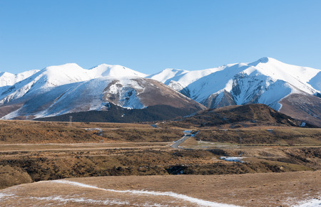 canterbury: Mountain road in clear winter day, Canterbury, New Zealand