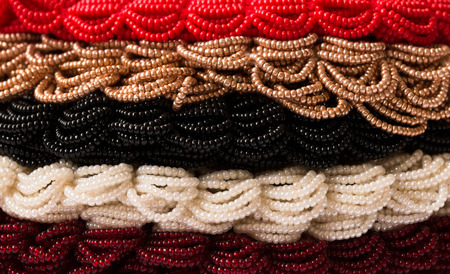 laborious: Layers of colored beads Stock Photo
