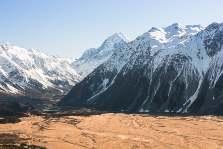 birdeye: Bird-eye view to Hooker Valley and mt Cook, New Zealand