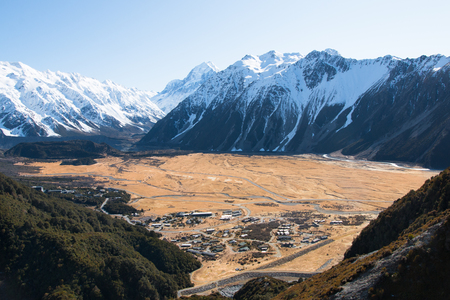 autumn color: View Hooker Valley from above, mt. cook, New Zealand