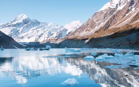 hooker: Hooker Glacier and Hooker Lake, Aoraki National Park, New Zealand Stock Photo
