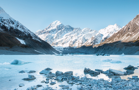 aoraki mount cook national park: View to Hooker Glacier and mt. Cook