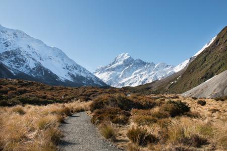 aoraki mount cook national park: Pathway to mt Cook, Aoraki National Park, New Zealand Stock Photo