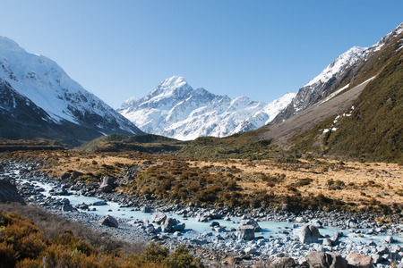 aoraki mount cook national park: View to Hooker river and mt Cook, Hooker valley, Aoraki, New Zealand