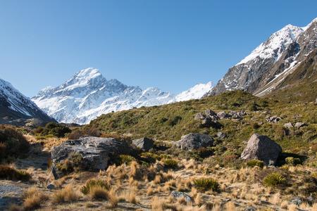 aoraki mount cook national park: View to mt Cook from Hooker Valley, Aoraki, New Zealand