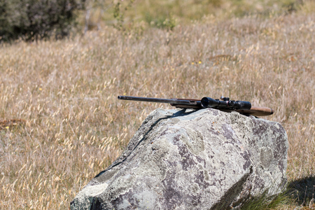 gun: Hunting rifle lies on a boulder