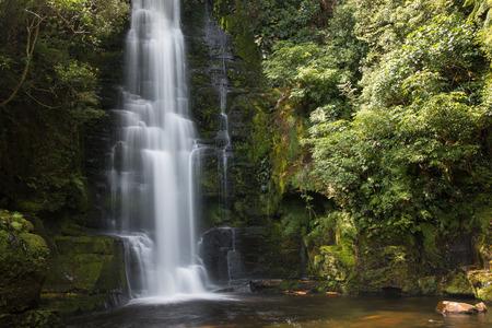 upper: Upper cascade of McLean Falls, New Zealand