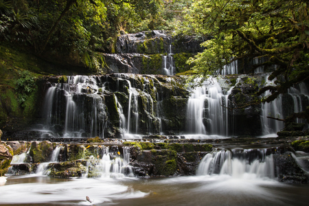 layers levels: Cascade of Purakaunui Falls, New Zealand Stock Photo