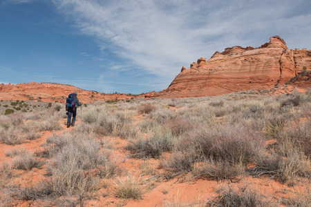 packsack: Man with backpack  walks towards sandstone buttes, South Coyote Buttes, Arizona, USA