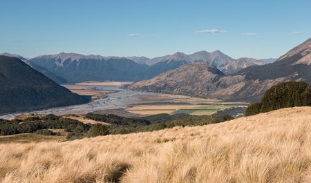 riverine: View to floodplain of Waimakariri river, Canterbury, New Zealand Stock Photo